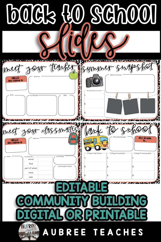 Back to School Editable Digital Slides Templates (DISTANCE