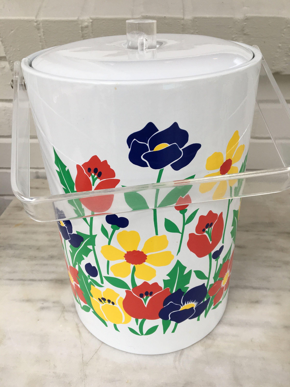 vintage Stotter floral ice bucket, summer picnic, wine