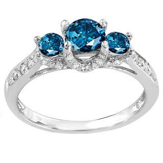 14k white gold 1ct tdw blue and white diamond 3 stone engagement ring h i - Blue Wedding Ring