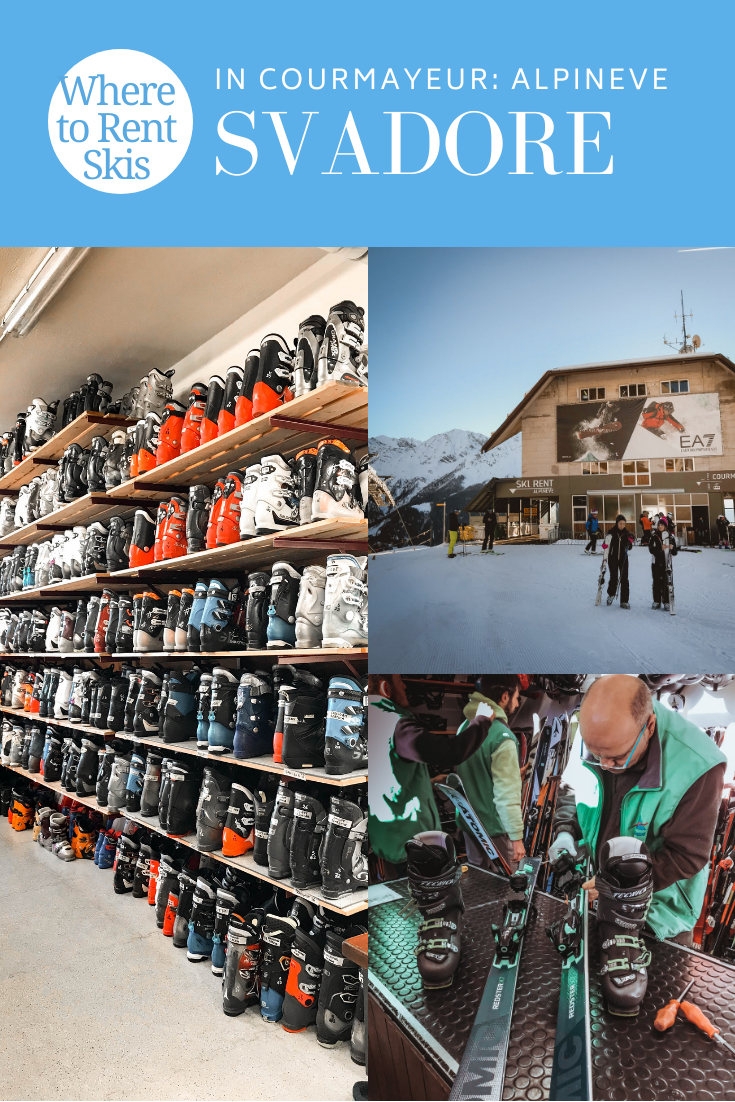 Where to Rent Skis in Courmayeur: Alpineve. Let me break it down for you why Alpineve should be your one and only choice when it comes to renting skis in Courmayeur. Learn more at travel blog Svadore. #courmayeur #alps #montebianco #montblanc #italianalps #italy #ski