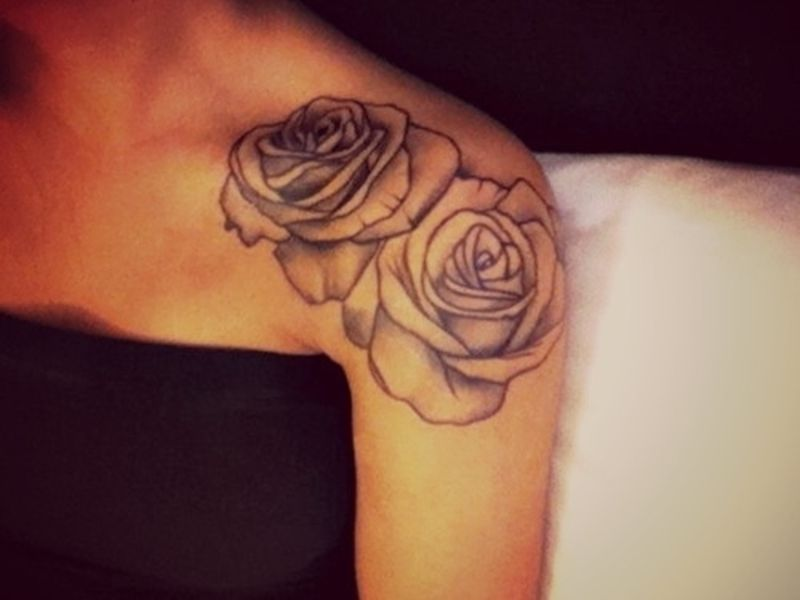Beautiful Black And White Rose Tattoo Feminine Placement Shoulder