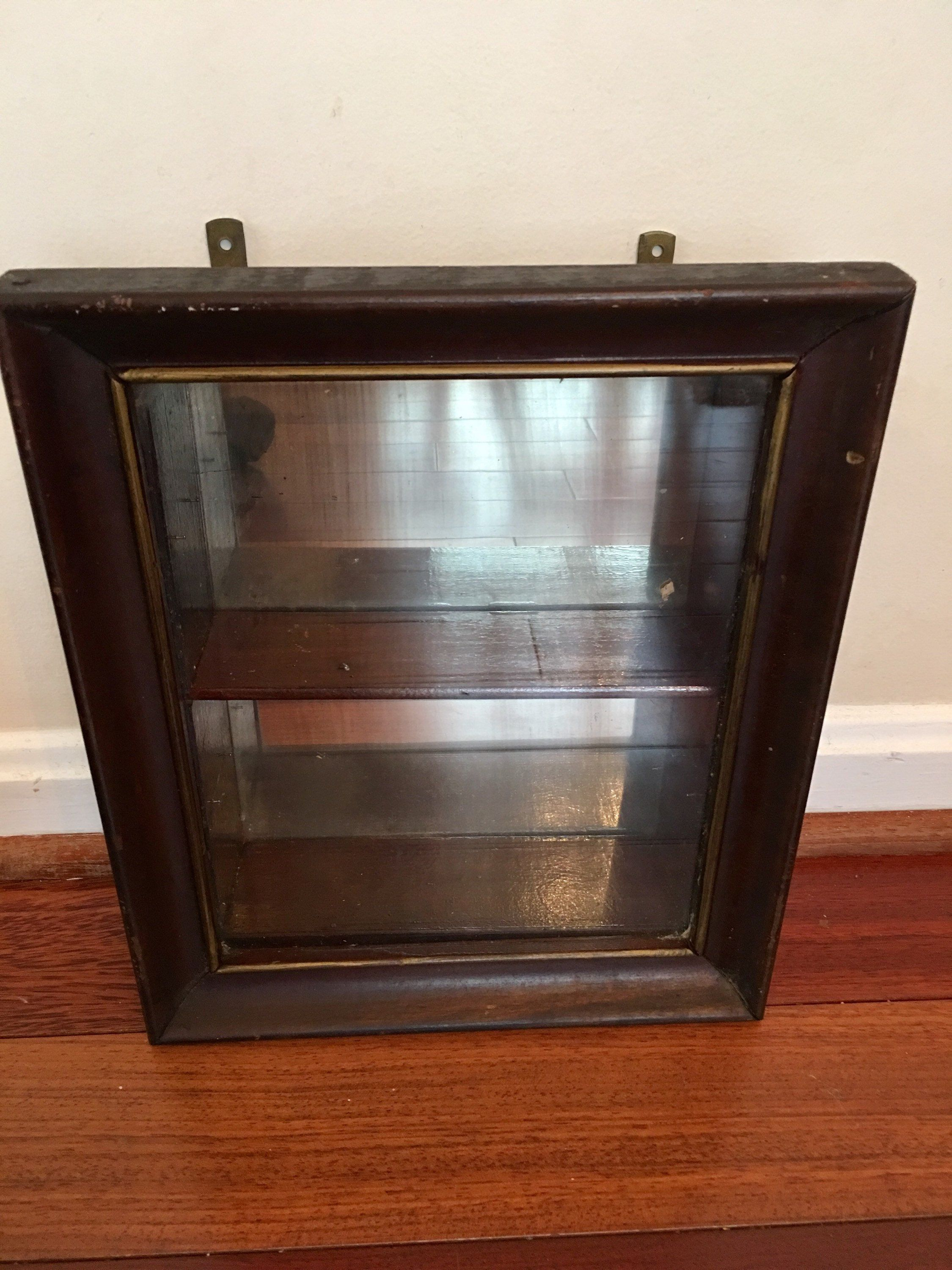 Antique Medicine Cabinet, Wooden Wall Cabinet with Glass ...