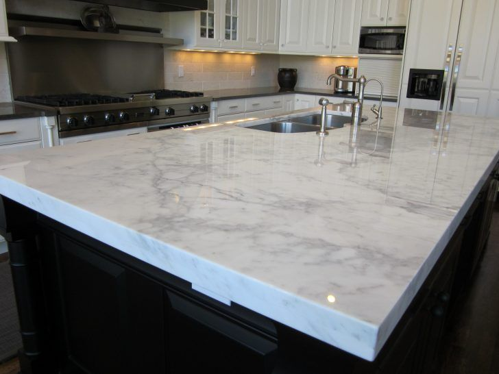 Light Grey Granite Countertop Connected By Stainless Steel