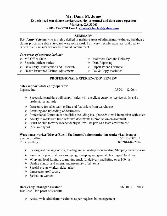 Warehouse Worker Resume No Experience Inspirational Data Entry Operator Resume Sample Resume Panion Resume Job Resume Samples Resume Job Description Template