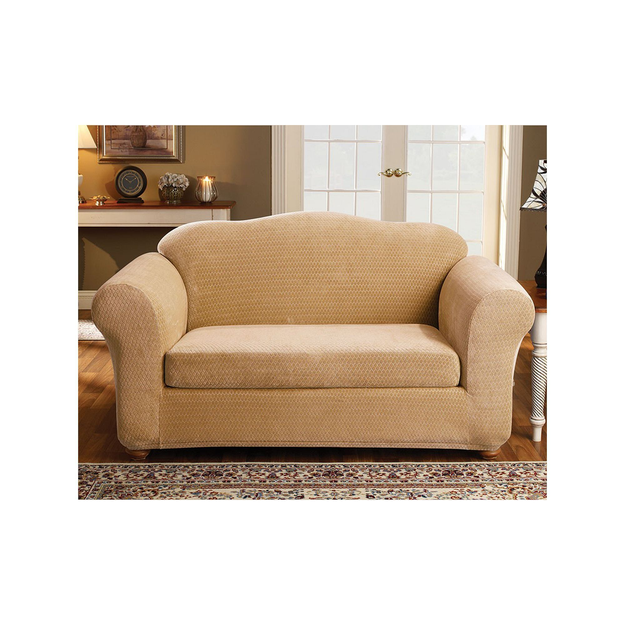 sure fit royal diamond loveseat slipcover yellow