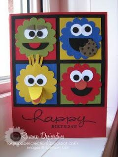 Roxie's Paper Creations: Sesame Street Punch Art Card
