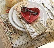 Pottery Barn---The napkin and table runner are printed love letter...Love it