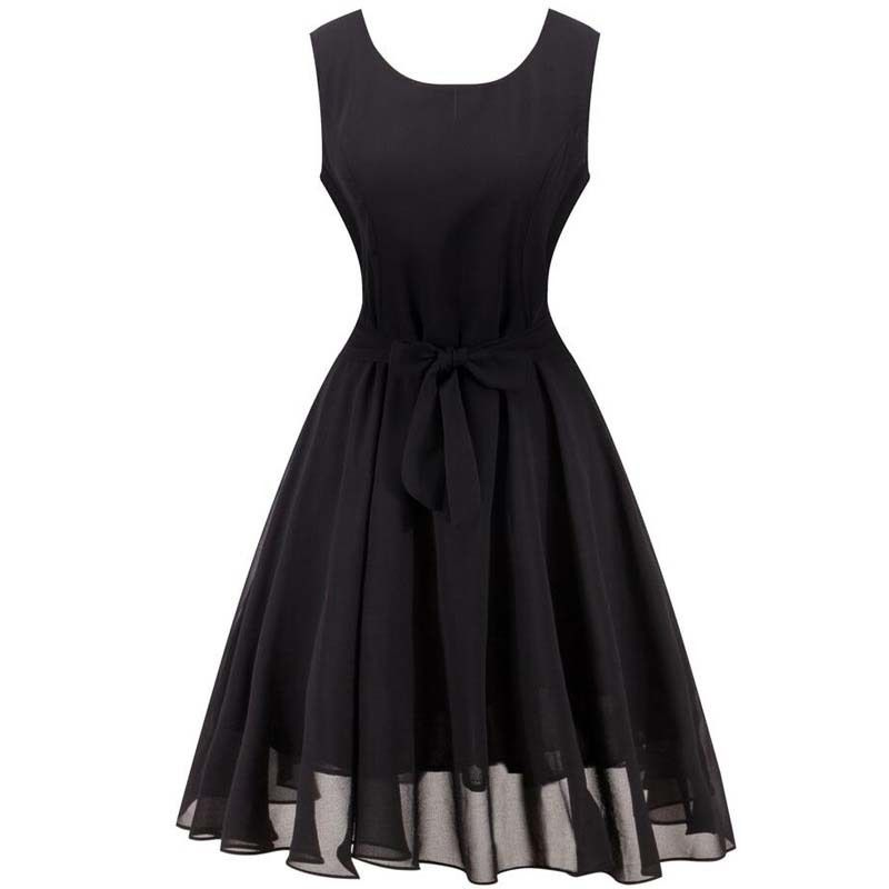 Summer Dress Women European Sleeveles Will Code Vest Chalaza Waist Sleeveless Printing Chiffon Dress Vestido De Festa