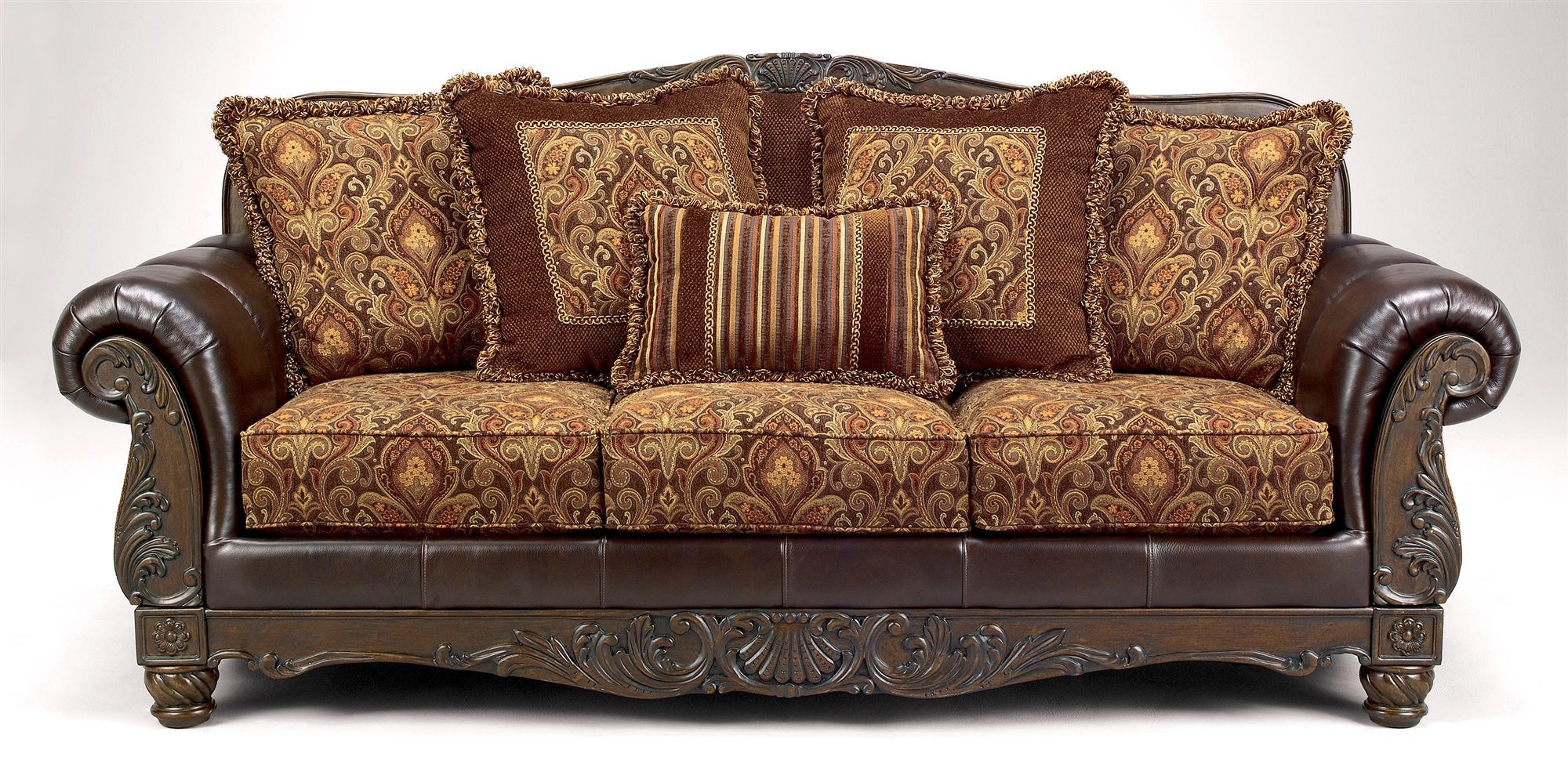 Buy Low Price Signet By IvgStores Carved Wood Sofa W Truffle Finish U0026  Multicolor Pillows (
