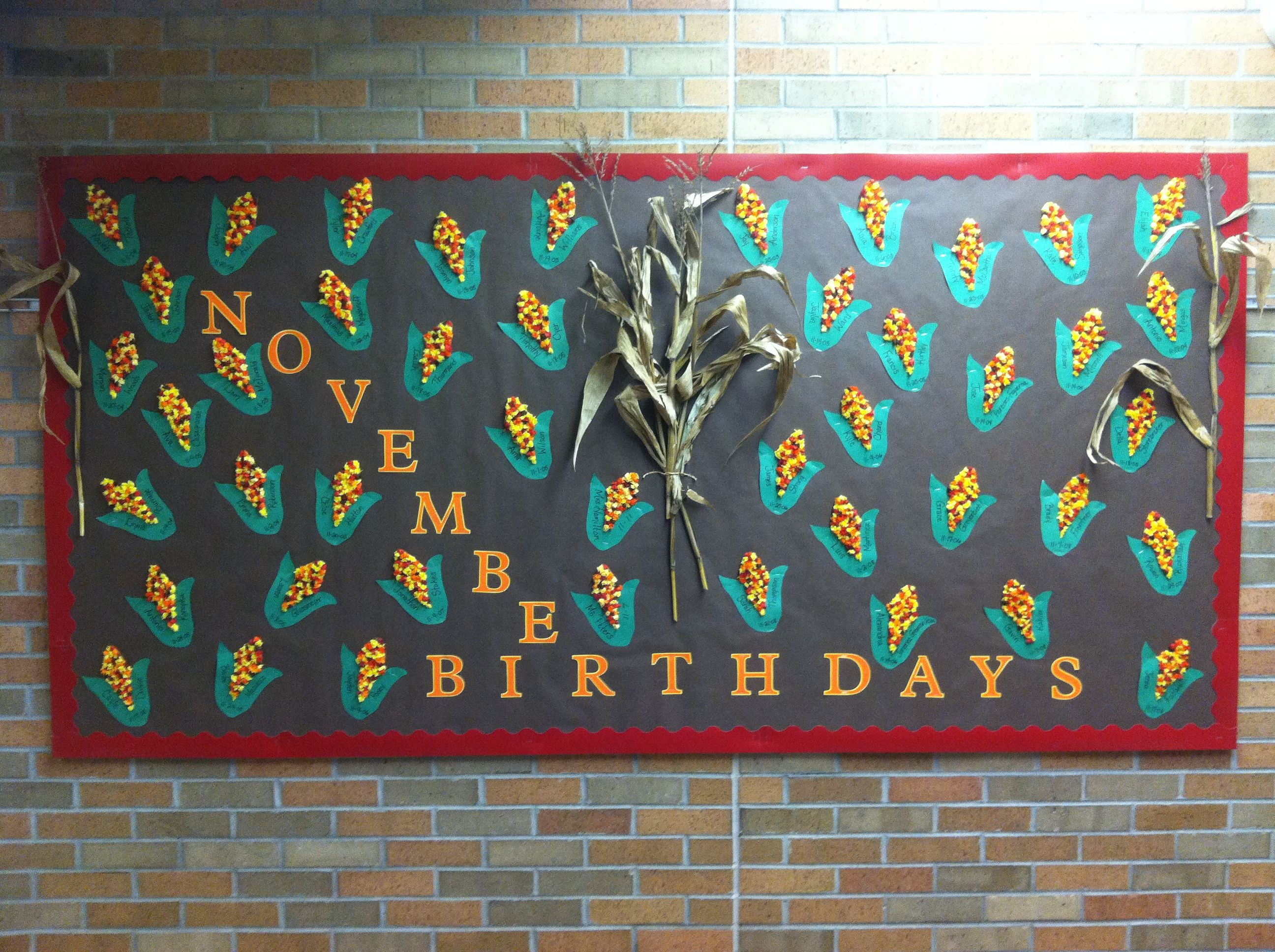November Birthday Bulletin Board Indian Corn Birthday