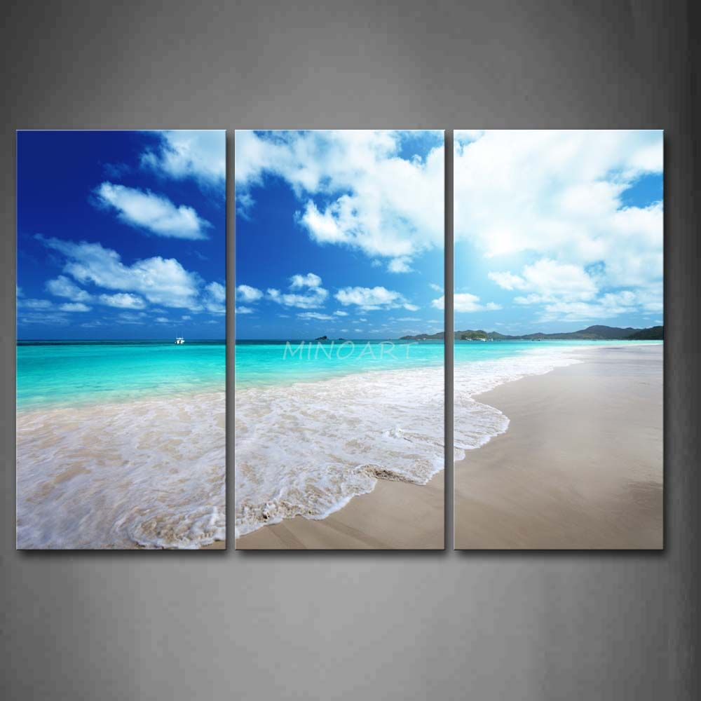 3 Piece Wall Art Painting Clear Beach Small Waves And Sunny Sky Print On Canvas The Picture Seasca 3 Piece Wall Art Wall Art Painting Canvas Painting Tutorials