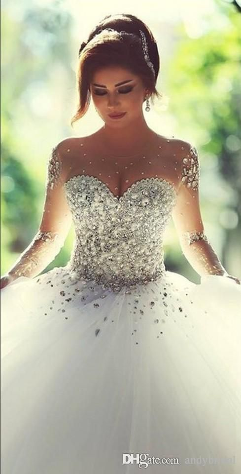 Cheap 2016 Long Sleeve Wedding Dresses With Rhinestones Crystals