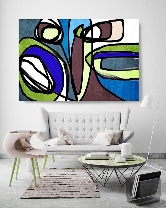 Vibrant Colorful Abstract 71 Mid Century Modern Brown Blue Etsy Blue Canvas Art Modern Canvas Art Geometric Painting