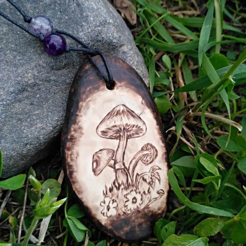 Handmade Mushroom jewelry gift for forest girl Wooden forest jewelry Amanita mushroom necklace pendant wood burning art Woodland jewelry.