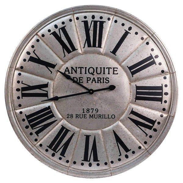 Antiquite De Paris Wall Clock Silver Finish 45 X 45 X 4 Wall Clock Metal Clock Paris Wall Clock