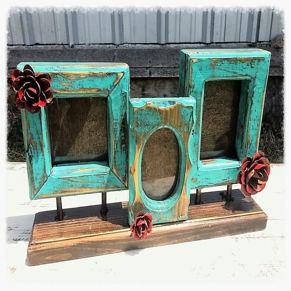 Fiesta Rustic Handmade Turquoise Three Frame Collage