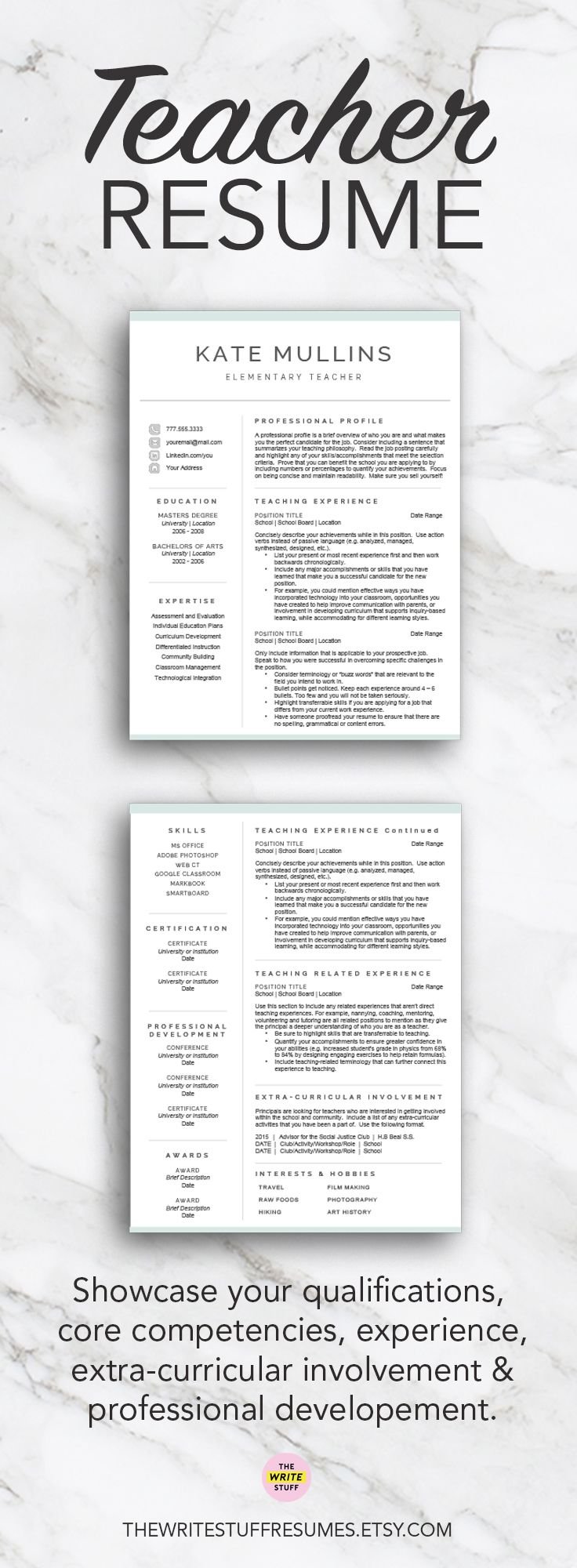 Teacher Resume Template For Word  Pages   And  Page Cv