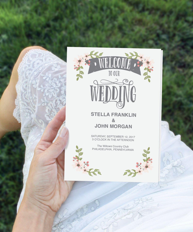 Folded Wedding Program Template DIY Program Wedding Program - Editable wedding program templates