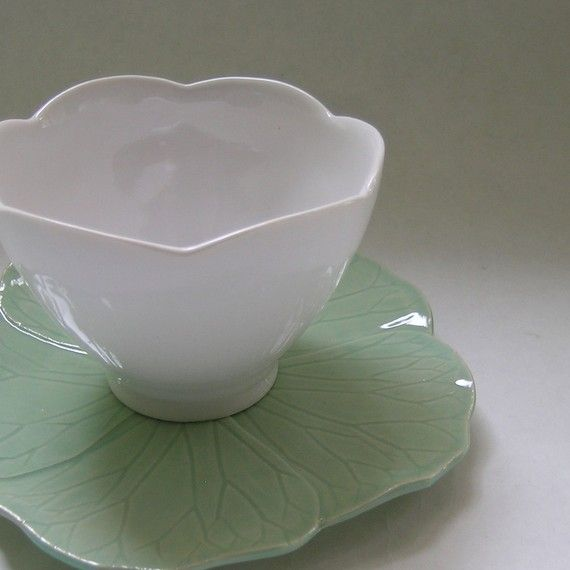 Ceramic Teacup and Flower Saucer by whitneysmith on Etsy, $90.00