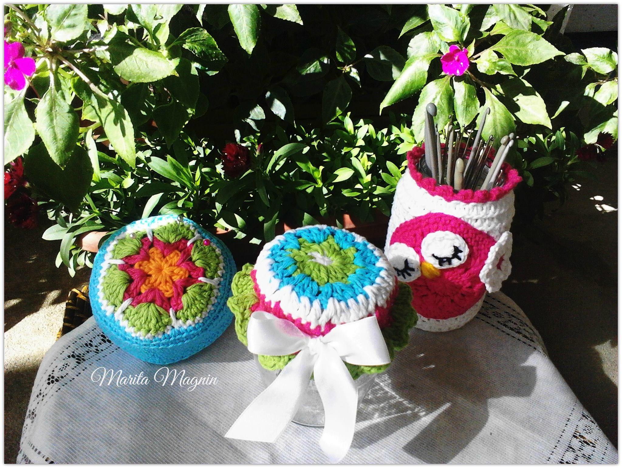 ●✿●Tapas o cubre frascos a crochet y alfiletero flor africana●✿●