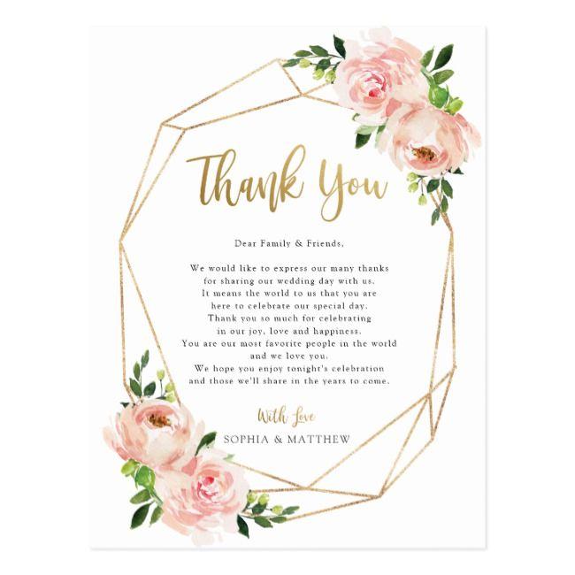 Blush Floral Wedding Geometric Seat Thank You Card