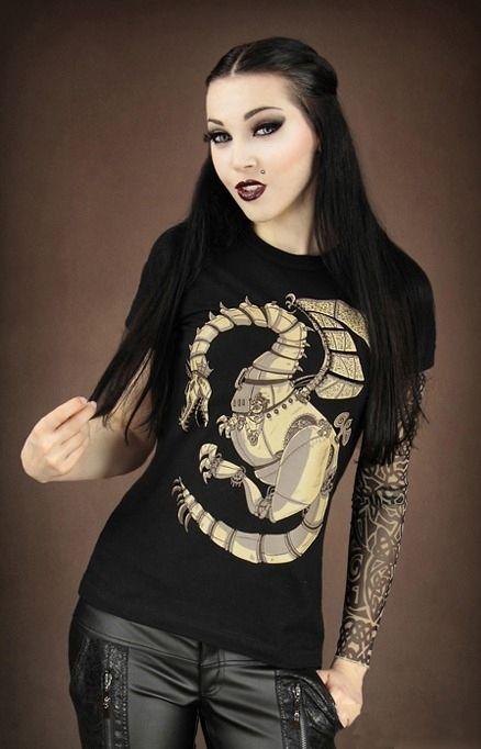 "T-shirt Gothique Restyle ""Dragon Steampunk"""