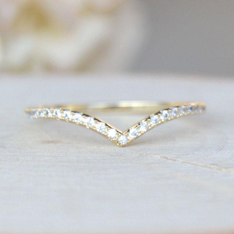 Beautiful Gold Thin Cubic Zirconia V Chevron Ring - April ...