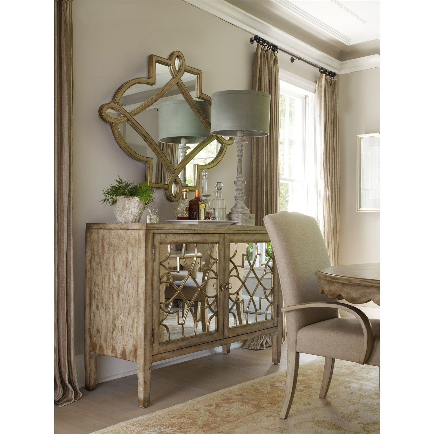 Good Hooker Furniture 3013 85002 Sanctuary Two Door Mirrored Console In Surf  Visage