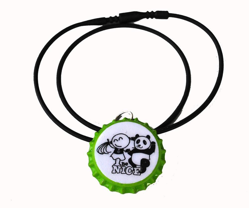 bottle cap necklace, be nice