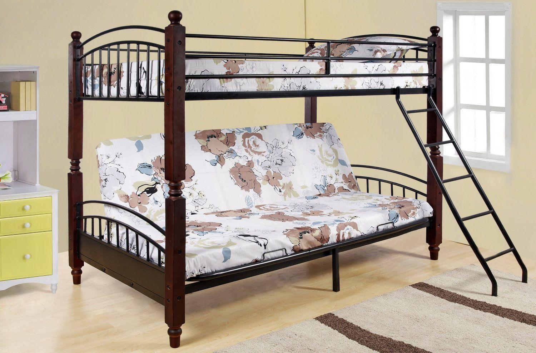 Kings brand twin full cherry finish wood u metal convertible futon