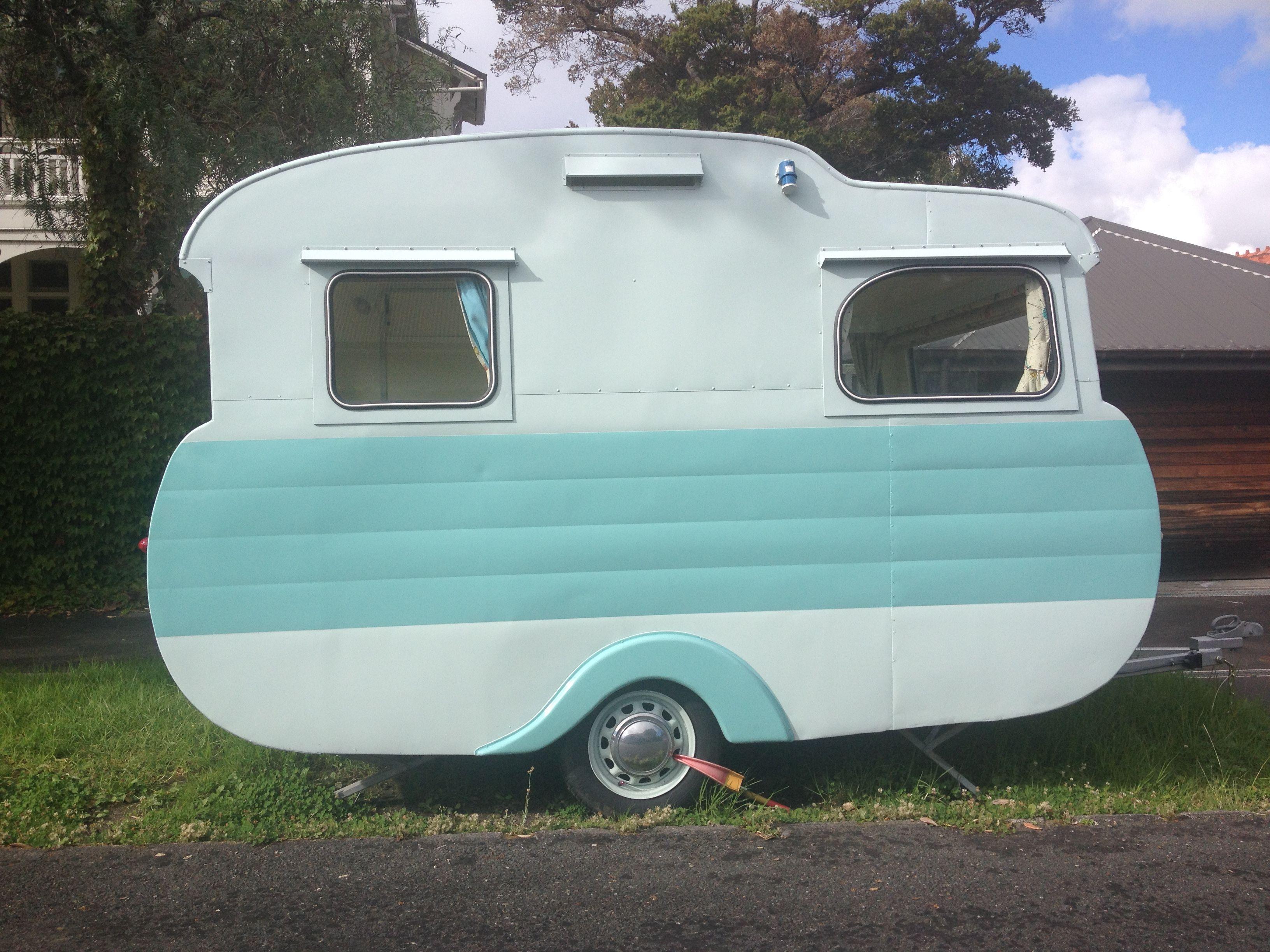 A Little Vintage Mint Caravan In Cheltenham Auckland Vintage