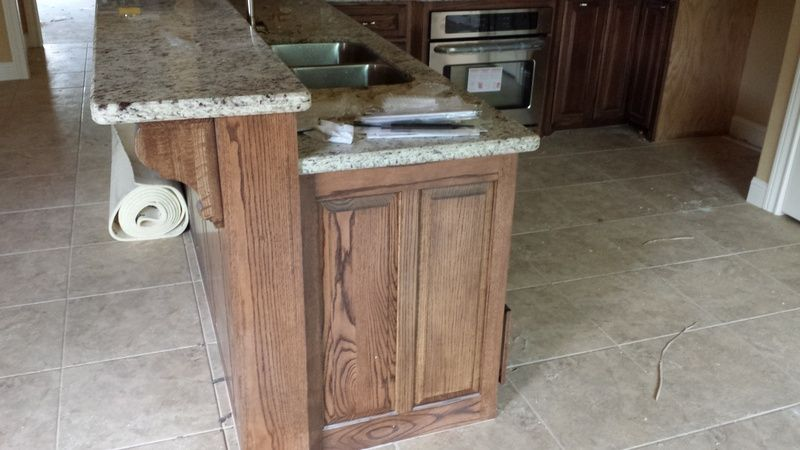 Burnished Walnut Stain On Red Oak Oak Cabinets Red Kitchen Red Oak