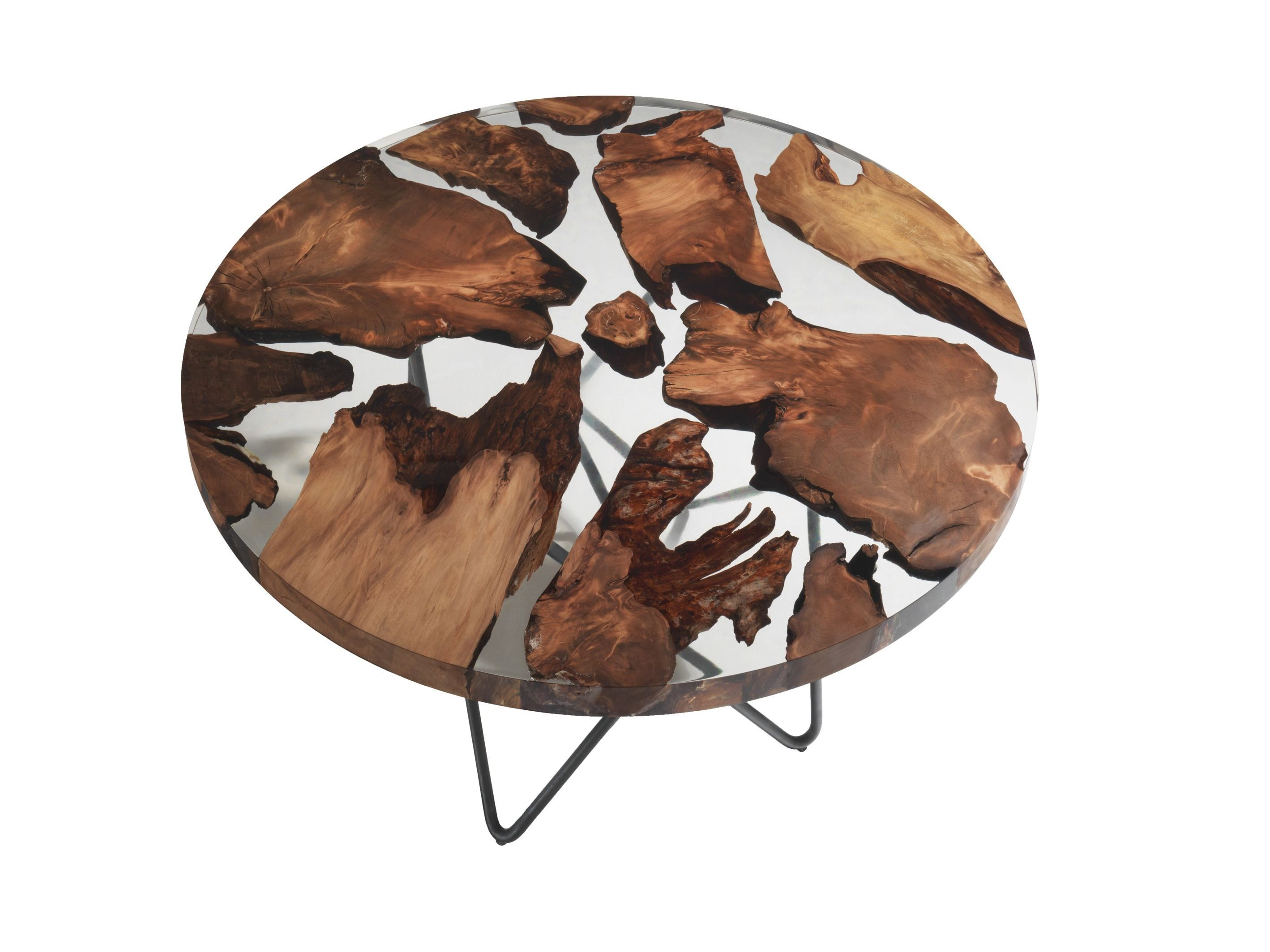 Table Ronde Bois Design Earth In 2019 Rock Wood Metal Resin Table Furniture Wood