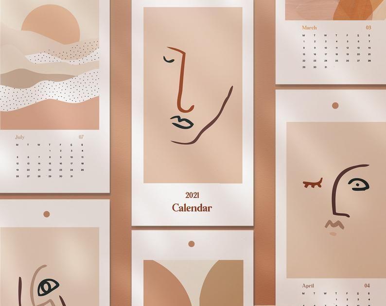 Calendrier Tan 2022 2021 2022 Illustration Wall Calendar, 2021 2022 Calendar, Line Art