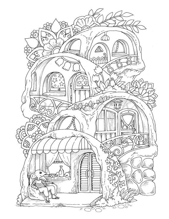 Nice Little Town 6 adult Coloring Book Coloring Pages PDF   Etsy