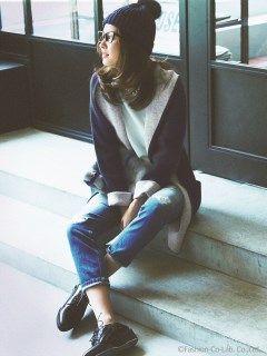 配色フードロングカーデ(ニットアウター)|JUSGLITTY(ジャスグリッティー)|ファッションウォーカー