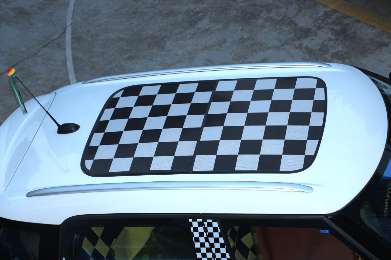 Mad Hornets Checkered Union Jack Sun Roof Decal Stickers Graphic - Bmw mini roof decals