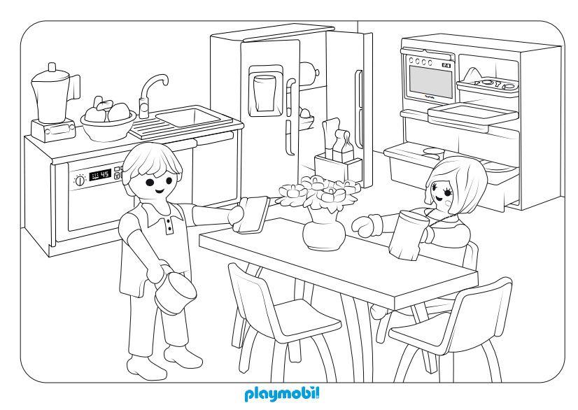 Dibujo de cocina moderna playmobil para colorear clicks - Habitacion para colorear ...
