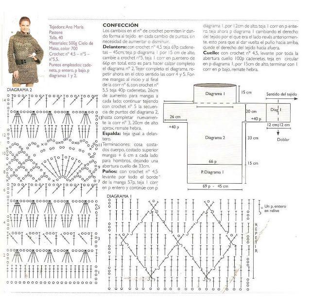 Patrones Crochet: Jersey Tunica Patron | Lanas y tejidos | Pinterest ...