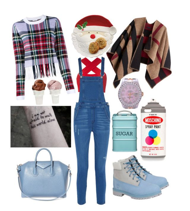 """""""festive af."""" by ghettochic on Polyvore featuring Moschino, Burberry, Motel, Timberland, Rebecca Minkoff, Givenchy, Chloé, Rolex and Sin"""