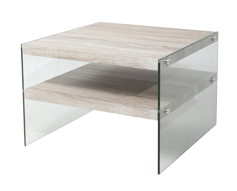 Amazon.de: BonVIVO® Designer Couchtisch Victoria, Beistelltisch In Moderner  Glas Holz Kombination
