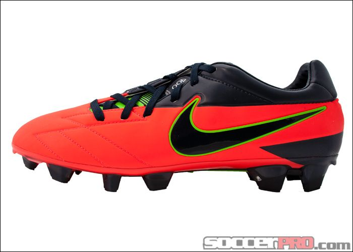 Nike T90 Laser IV KL FG Soccer Cleats - Bright Crimson with Electric Green  and Dark