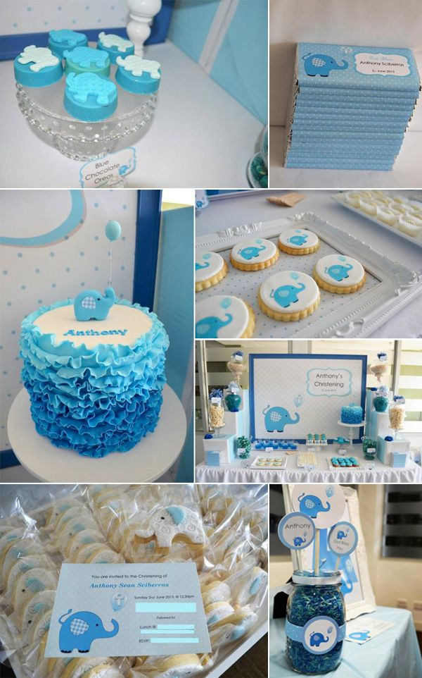 Blue elephant baby shower ideas baby shower ideas for Baby shower decoration ideas boy