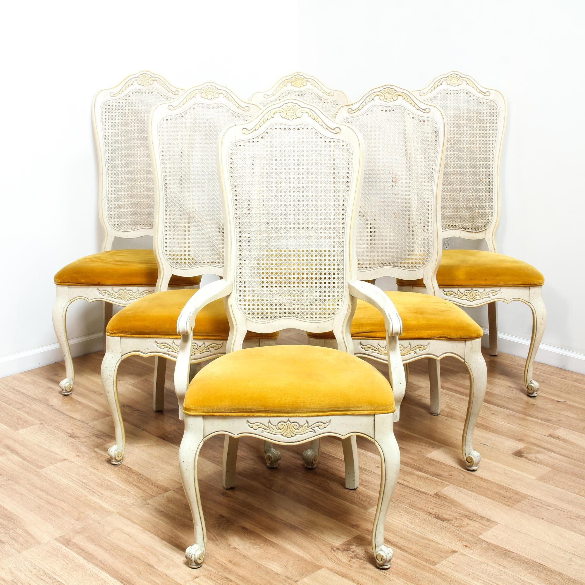 This Dining Chair Set Is Featured In A Solid Wood With A White Finish This French Provincial Style Side Chairs Hav White Dining Chairs Furniture Dining Chairs