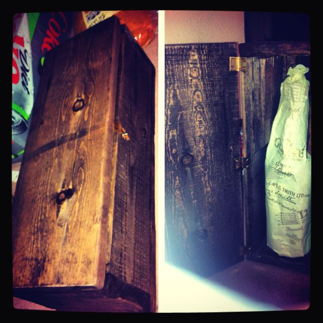 I made this whisky treasure chest out of old pallet wood ...