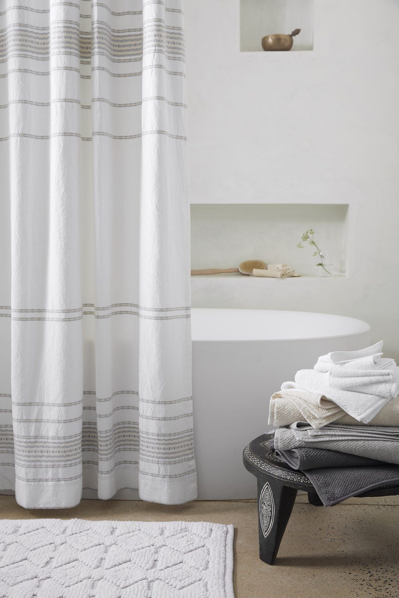 Coyuchi Rippled Stripe Organic Shower Curtain Farmhouse Shower
