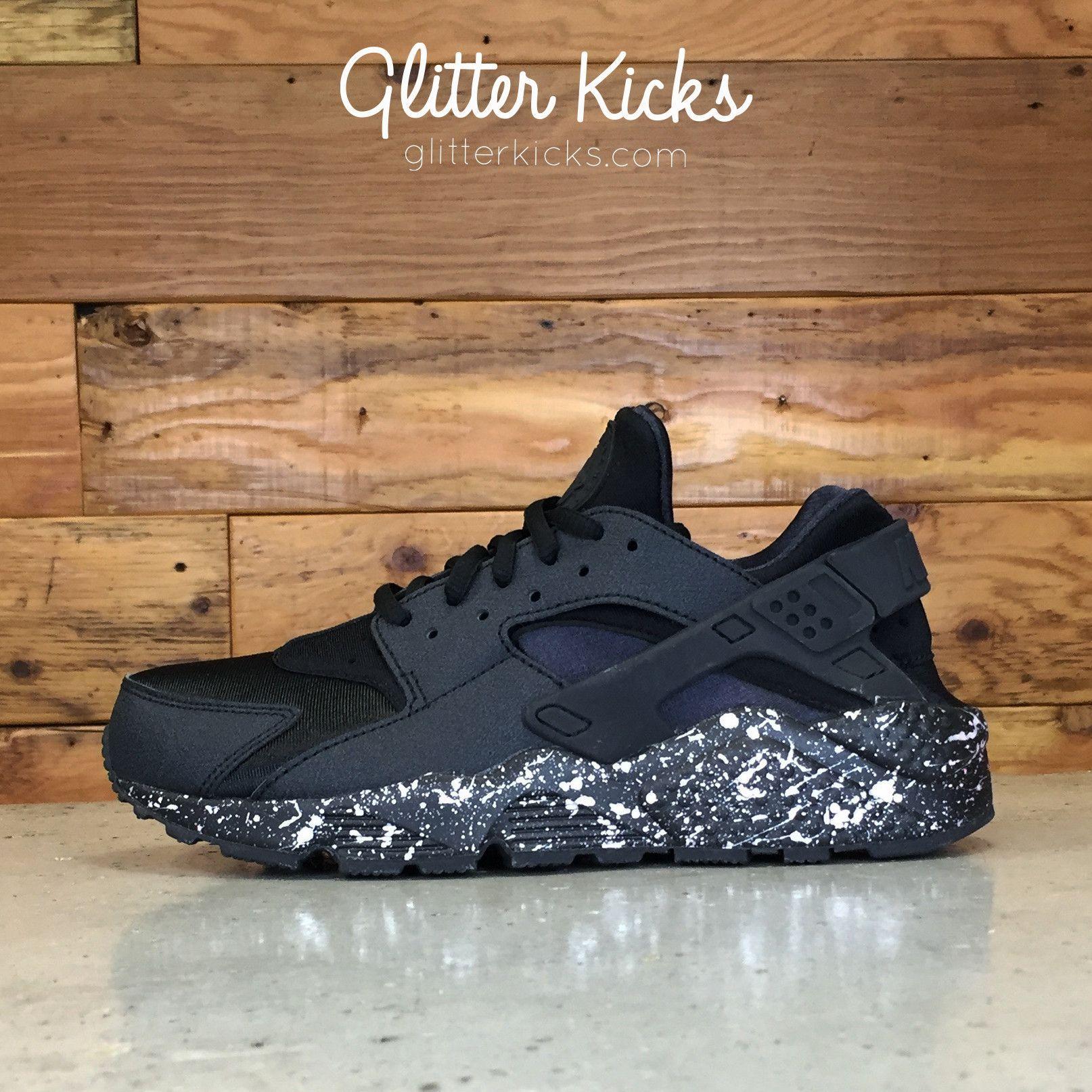 23778c32a7ec Nike Air Huarache Run Customized by Glitter Kicks - Triple Black   Pearl  Paint Speckle