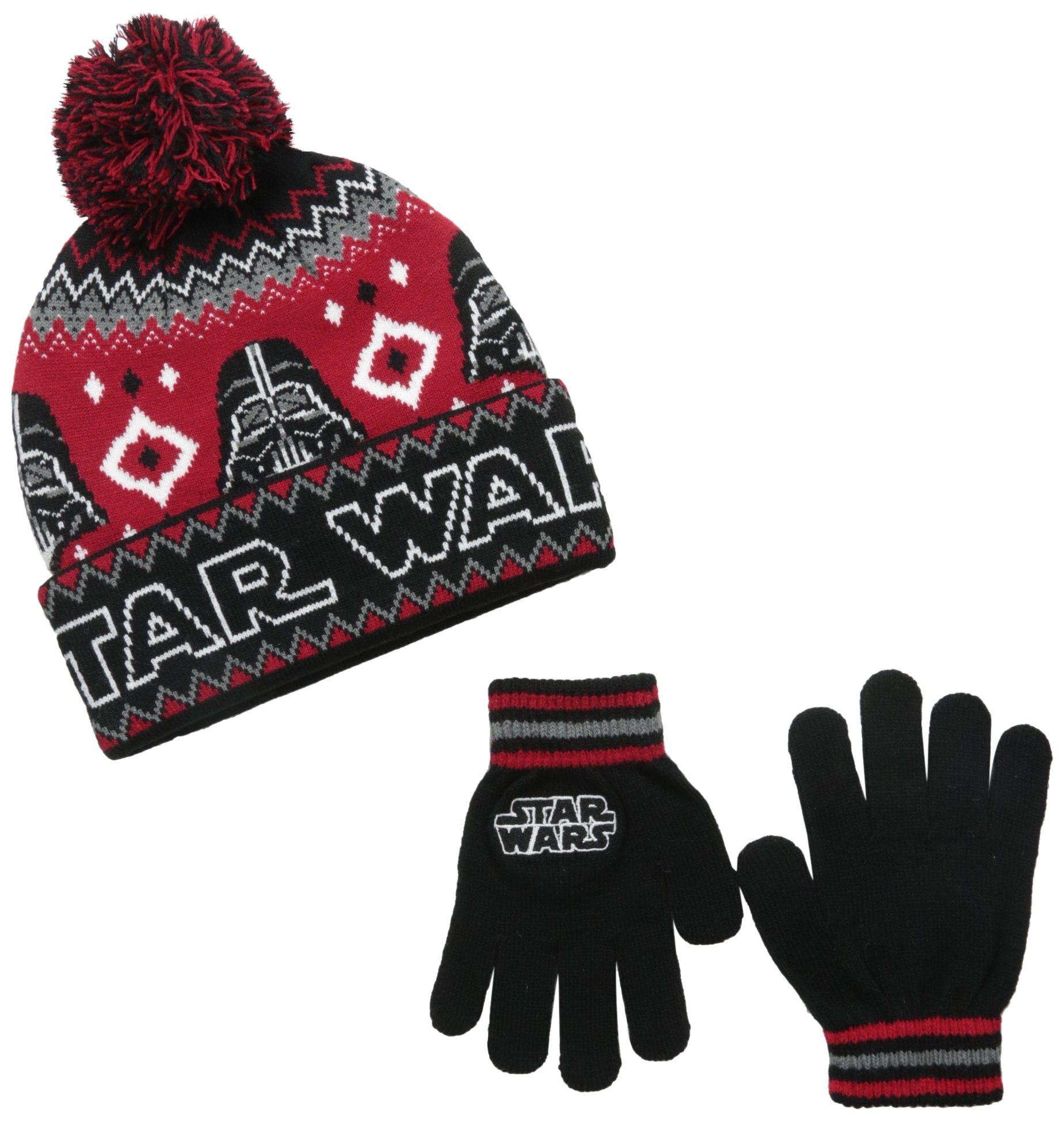 e0b728e7201 Amazon.com  Star Wars Little Boys  Darth Vader Intarsia Knit Cuff Pom Beanie  and Glove Set