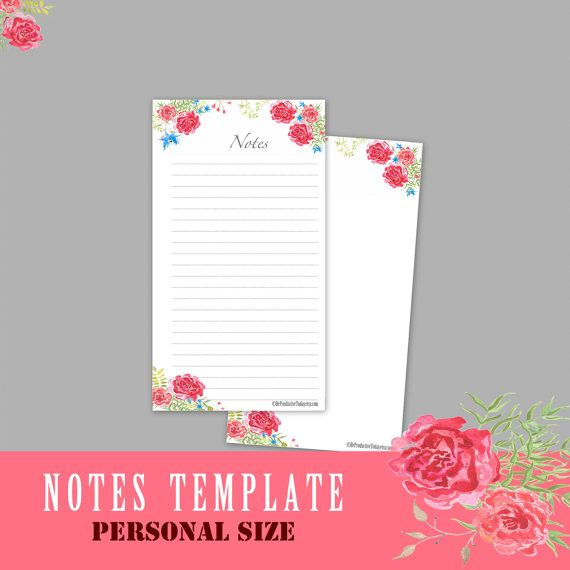 PERSONAL Size Inserts Notes Template Personal Inserts A5 Inserts - agenda page template