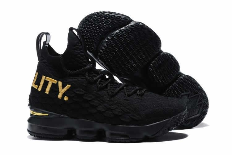 Nike LeBron 15 Equality PE Black Gold Basketball Shoe For Sale ... 2e40557bb